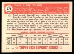 1952 Topps REPRINT #276  Jim Wilson  Back Thumbnail