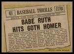 1961 Topps #401   -  Babe Ruth Baseball Thrills Back Thumbnail