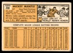 1963 Topps #200  Mickey Mantle  Back Thumbnail