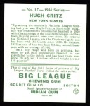 1934 Goudey Reprint #17  Hugh Critz  Back Thumbnail