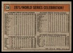 1972 Topps #230  Manny Sanguillen / Luke Walker / Gene Clines 1971 World Series Summary - Celebration Back Thumbnail