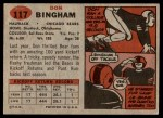 1957 Topps #117  Don Bingham  Back Thumbnail