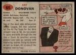 1957 Topps #65  Art Donovan  Back Thumbnail