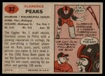 1957 Topps #37  Clarence Peaks  Back Thumbnail