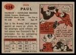 1957 Topps #114  Don Paul  Back Thumbnail