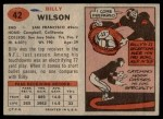 1957 Topps #42  Billy Wilson  Back Thumbnail