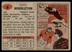 1957 Topps #8  Dave Middleton  Back Thumbnail