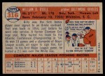 1957 Topps #316  Billy O'Dell  Back Thumbnail