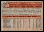1957 Topps #340  Bill Wight  Back Thumbnail