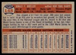 1957 Topps #148  Don Mueller  Back Thumbnail