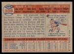 1957 Topps #308  Dick Hall  Back Thumbnail
