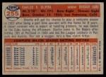 1957 Topps #255  Charlie Silvera  Back Thumbnail