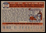 1957 Topps #17  Billy Gardner  Back Thumbnail