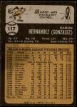 1973 Topps #117  Ramon Hernandez  Back Thumbnail