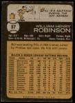 1973 Topps #37  Bill Robinson  Back Thumbnail