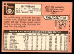 1969 Topps #541  Joe Verbanic  Back Thumbnail