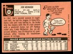 1969 Topps #603  Joe Keough  Back Thumbnail
