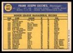 1970 Topps #662  Frank Lucchesi  Back Thumbnail