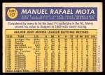 1970 Topps #157  Manny Mota  Back Thumbnail