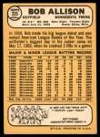 1968 Topps #335  Bob Allison  Back Thumbnail