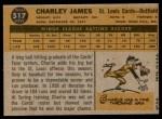 1960 Topps #517  Charlie James  Back Thumbnail