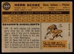 1960 Topps #360  Herb Score  Back Thumbnail