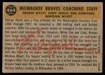 1960 Topps #464   -  Bob Scheffing / Whitlow Wyatt / Andy Pafko / George Myatt Braves Coaches Back Thumbnail