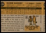 1960 Topps #529  Norm Sherry  Back Thumbnail