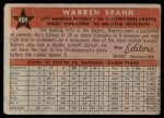 1958 Topps #494   -  Warren Spahn All-Star Back Thumbnail