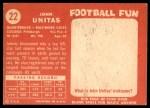 1958 Topps #22  Johnny Unitas  Back Thumbnail