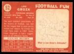 1958 Topps #52  Lou Groza  Back Thumbnail