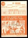 1963 Topps #122  Ed Brown  Back Thumbnail