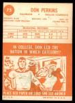 1963 Topps #75  Don Perkins  Back Thumbnail