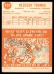 1963 Topps #131  Clendon Thomas  Back Thumbnail
