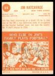 1963 Topps #55  Jim Katcavage  Back Thumbnail