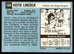 1964 Topps #164  Keith Lincoln  Back Thumbnail