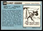 1964 Topps #149  Clancy Osborne  Back Thumbnail