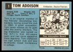 1964 Topps #1   Tommy Addison  Back Thumbnail