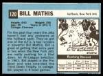 1964 Topps #120  Bill Mathis  Back Thumbnail