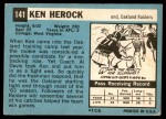 1964 Topps #141  Ken Herock  Back Thumbnail