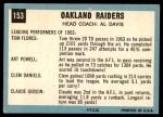 1964 Topps #153   Oakland Raiders Team Back Thumbnail