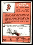 1966 Topps #45  Lionel Taylor  Back Thumbnail