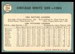 1965 Topps #234   White Sox Team Back Thumbnail