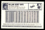 1973 Kellogg's #43  Willie Davis  Back Thumbnail