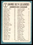 1965 Topps #3   -  Mickey Mantle / Harmon Killebrew / Boog Powell AL HR Leaders Back Thumbnail