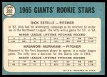 1965 Topps #282   -  Masanori Murakami / Dick Estelle Giants Rookies Back Thumbnail