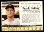 1961 Post #41 COM Frank Bolling   Front Thumbnail