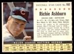 1961 Post #192 COM Richie Ashburn   Front Thumbnail
