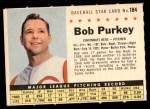 1961 Post #184 COM Bob Purkey  Front Thumbnail