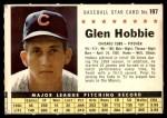 1961 Post #197 COM Glen Hobbie   Front Thumbnail